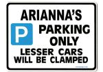 ARIANNA'S Personalised Parking Sign Gift | Unique Car Present for Her |  Size Large - Metal faced